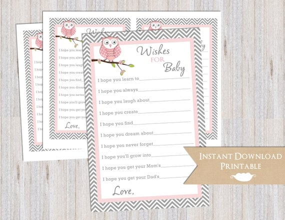 Wishes for Girl Baby Shower Owl Pink and Gray Chevron Printable