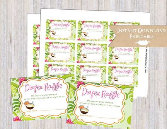 Tropical Luau Hawaiian Printable Diaper Raffle Tickets for Baby Shower INSTANT DOWNLOAD