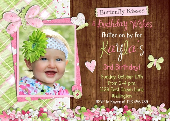 Rustic Butterfly Birthday Invitation - Photo Card Printable Butterfly Garden Invite