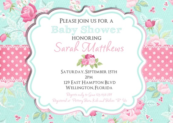 Shabby Chic Baby Shower Invitation, Girl Baby Shower ...