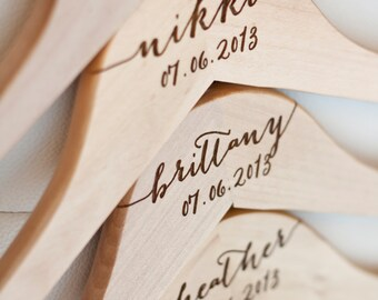 Personalized Bridesmaid Hanger - Engraved Wood