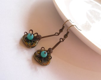 Copper wire earrings, turquoise bronze beaded jewelry, artistic earring, bohemian earrings, gift for her, Little cute