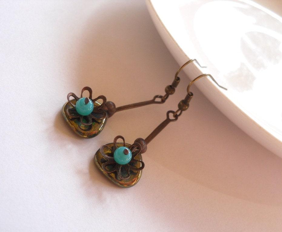 copper wire earrings turquoise bronze beaded jewelry