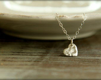 Little Hammered Heart Necklace in Sterling Silver