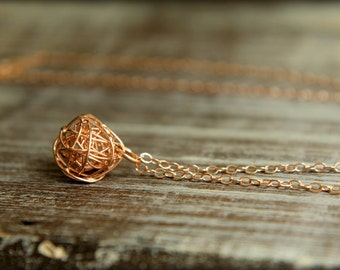 Wire Knot Necklace in Rose Gold Vermeil and Rose Gold-filled