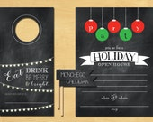Chalkboard Holiday Party Pack Printable Invitation and Decorations