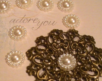 10pcs Flower Center Cabachon Flat Back Acrylic Plastic Scrapbookig Shabby Chic Wedding Embellishments DIY Wedding Tags Escort Cards