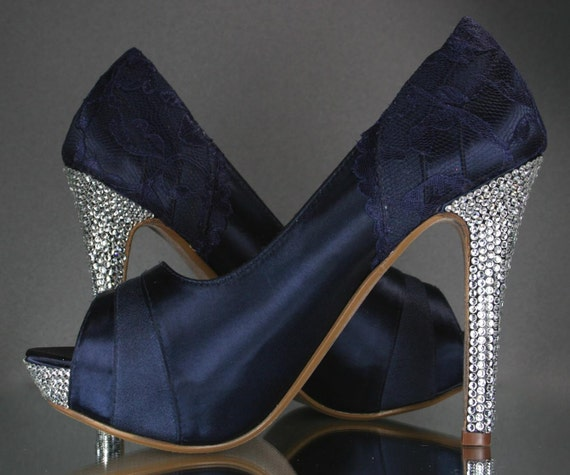 Custom Wedding Shoes -- Navy Blue Peep Toe Platform Wedding Shoes with Navy Blue Lace Overlay and Silver Rhinestone Heel and Platform