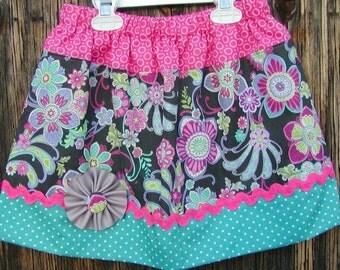 Girls Skirt Custom infant toddler skirt...Summer Flowers..Available in 0-6, 6-12 months, 1/2, 3/4, 5/6, 7/8, 9/10 Bigger Sizes Available