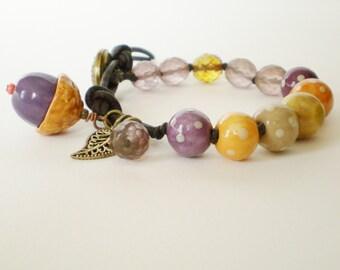 purple bead bracelet, knotted bracelet, autumn bracelet, fall bracelet, acorn bracelet, southwestern bracelet, stacking bracelet, for her