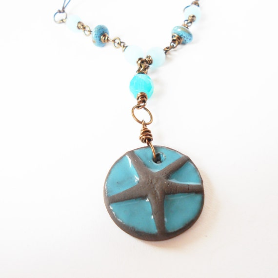 starfish pendant necklace turquoise bead necklace by