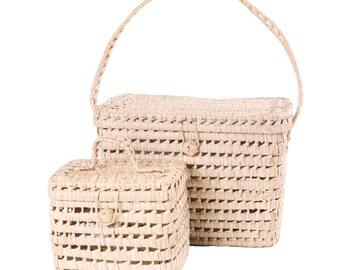 Set of 2 Palm Leaf Storage Baskets