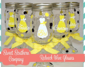 4 Personalized Bride and Bridesmaid Redneck Wine Glasses