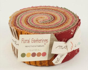 Floral Gatherings Fabric Collection by Primitive Gatherings for Moda - 1 Jelly Roll