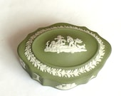 Vintage Wedgwood Green Trinket Box Jasperware Excellent Condition Beautiful Gift