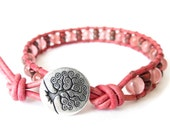 Confirmation gift for girls, cherry quartz wrap bracelet with Japanese Miyuki seed beads, meaningful gift for hope and strength