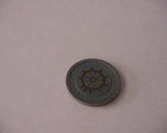 Vtg 1940s Harvey's Casino Lake Tahoe Greyish Blue Green Color Clay Pilot Wheel Roulette Chip Gaming Collectible