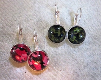 Camouflage Pink or Green Silver Earrings