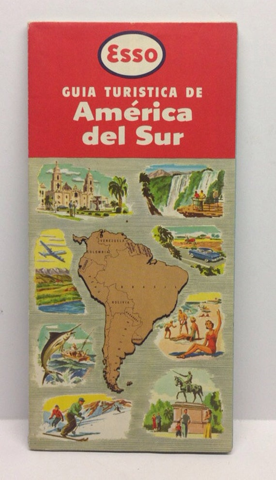 Vintage Spanish Esso South America Tourist Guide Map