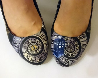 Clocks and cogs in space high heels shoes ladies - custom Hand painted and made to order.