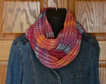 Pink Scarf Wrap Cowl Hand Knit Wool Blend