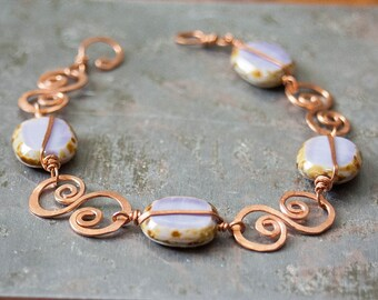 SALE Hand Forged Wire Wrapped Copper and Purple Czech Glass Bracelet Delicate Copper Spirals Artisan Jewelry