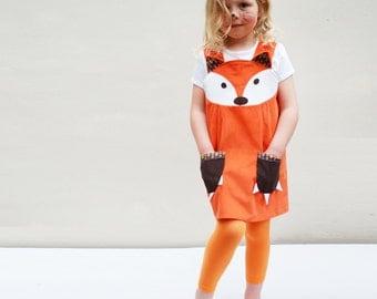 Fox Dress costume play pinafore in orange corduroy