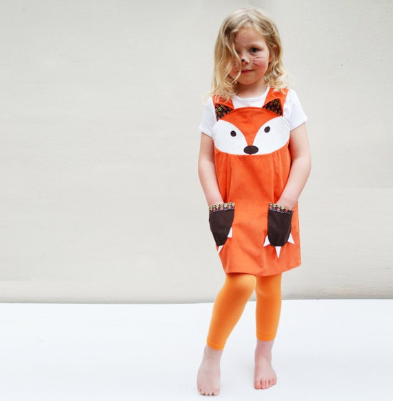 Fox Dress costume play pinafore in orange corduroy