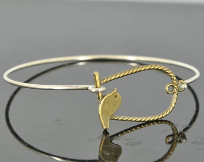 Bird Bangle, Sterling Silver Bangle, Bird Bracelet, Stackable Bangle, Charm Bangle, Bridesmaid Bangle, Bridesmaid jewelry, Bridal Bracelet