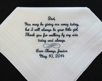 Wedding handkerchief embroidered for the Father of the Bride.  This is popular verse or choose your own personal 40 words.