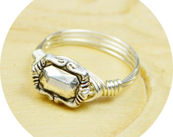 Sterling Silver Filled Ring - Wire Wrapped with Antique Style Silver Tone Bead - Any Size- Size 4, 5, 6, 7, 8, 9, 10, 11, 12, 13, 14