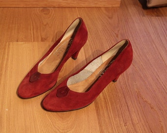 SALE 60s burgundy suede pumps heels 39.5/8.5