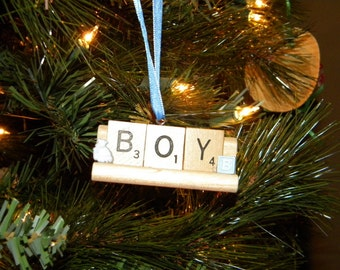 Boy Scrabble Ornament on Tile Rack No 1