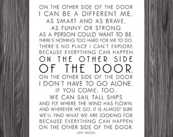 On The Other Side of The Door. Jeff Moss Poem. Printable Design. 8x10. DIY. PDF.