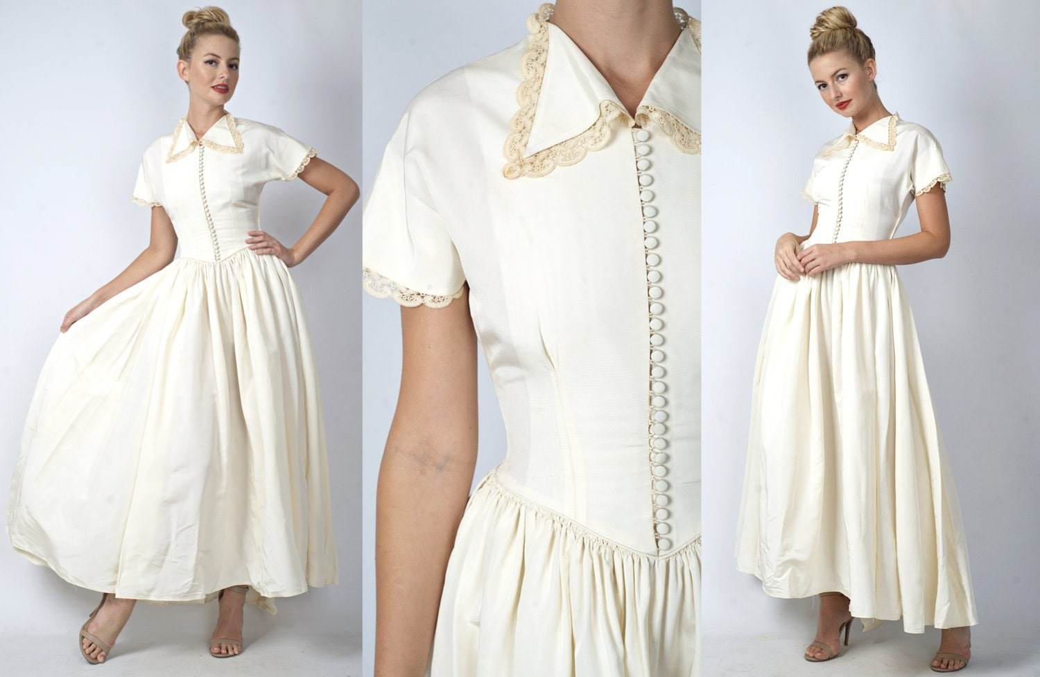 Cream Wedding Gown: Vintage 40s 50s Cream Wedding Dress Full Maxi By