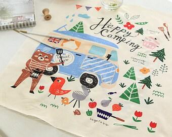 FB101,Happy camping story fabric - 110cm x 60cm