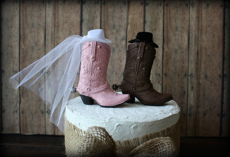 Western cowboy boots wedding cake topper western