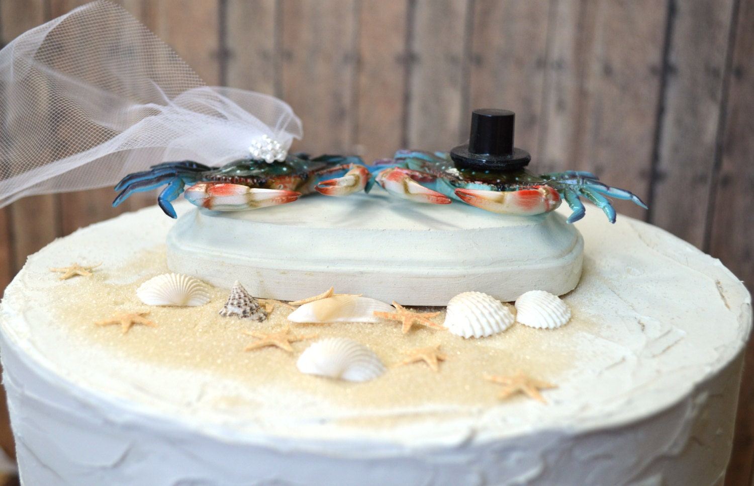 Crab Wedding Cake Topper Beach Themed