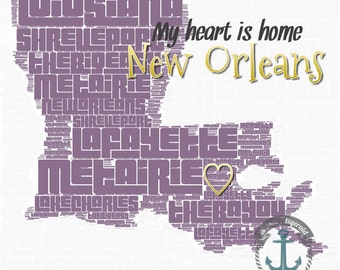 New Orleans Typography Louisiana Towns Purple and Gold Wall Decor Product Options and Pricing via Dropdown Menu