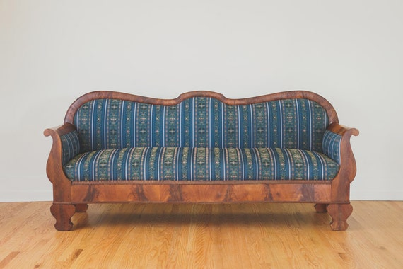 Sale Antique Dark Wood And Navy Embroidered Sofa