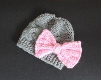 Baby Hat, Baby Girl Hat in crochet Bow Newborn Photo Prop, Baby girl Crochet Hat , Infant Hat Newborn , Toddler Hat, Baby Girl Newborn Hats