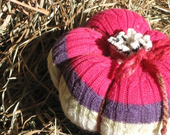 Scarlet Red/Purple/White Striped Pumpkin/Upcycled Sweater Pumpkin