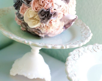 Robin Egg Blue Cake Stand Dessert Pedestal / Victorian Inspired Parisian Style Weddings / Cupcake Stand / Platter for French Macarons