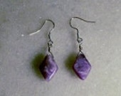 Charoite diamond shaped earrings with sterling silver earwires