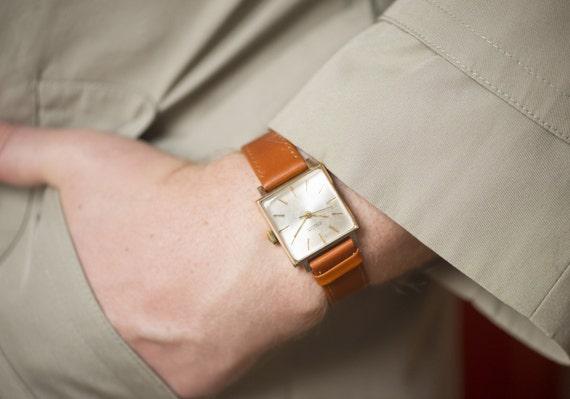 vintage wrist watch men french new wave dandy style watch vintage wrist watch men french new wave dandy style watch raketa square case gold plated au
