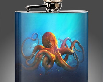 Octopus Flask - Custom Whiskey Flask 21st Birthday, Best Man Gift, Groomsman Flask, Party Gifts,
