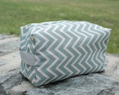 Grey and White Chevron Cotton Toiletry Bag