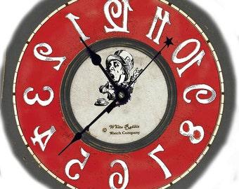 Backwards clock  Alice in Wonderland decor, red color