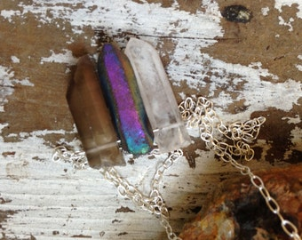 Quartz Crystal Necklace - Raw Rough Stones, Clear Rainbow Smokey Quartz, Crystal Points, Chevron Geometric Necklace, Sterling Silver