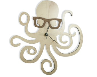 Octopus with Glasses Clock - Handmade - Laser Cut